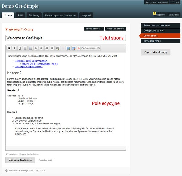 Get-Simple edycja strony
